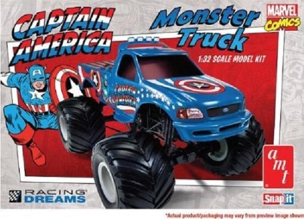 Amt  Captain America Ford F  Monster Truck   Snap Plastic Model Kit